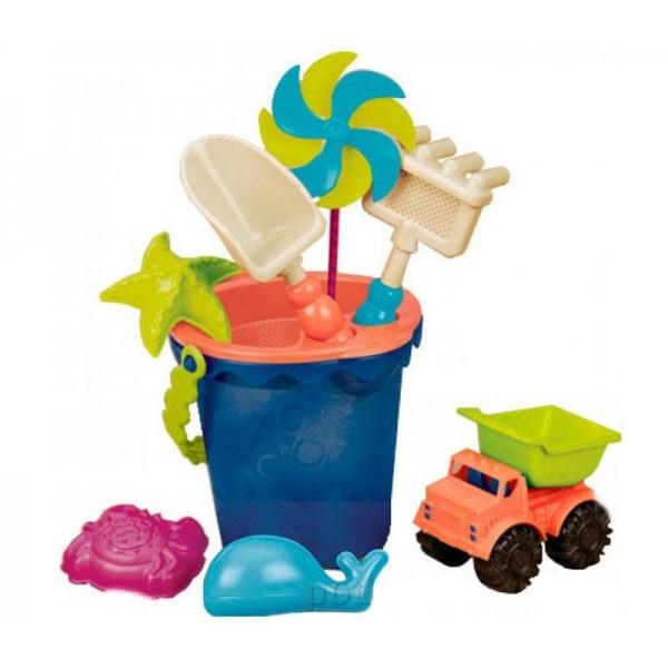 Набор для игры с песком и водой Battat Ведерко Море на 9 предметов - KDS BX1330Z
