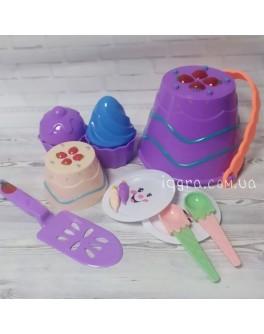Набір для піску Торти та Тістечка з фіолетовим відерцем