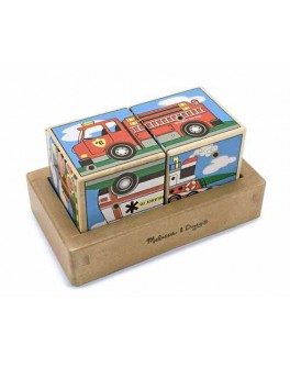 Деревянные кубики музыкальные Транспорт Melissa Doug - MD 1272