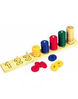 Деревянная игрушка пирамидки-счет Круги 8в1, Мди - Der 083