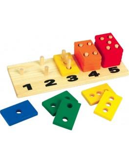 Деревянная игрушка пирамидки-счет Прямоугольники 5в1, Мди - Der 082