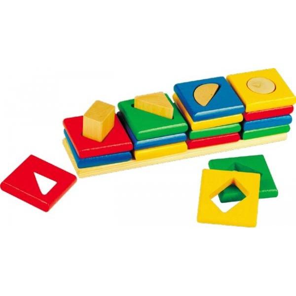 Деревянная игрушка Сортировщик квадраты 4 в 1. Развивающая игрушка Сегена - Der 080