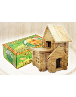 Деревянный конструктор Игротеко - Домик с гаражом на 66 деталей - mlt s garazhem