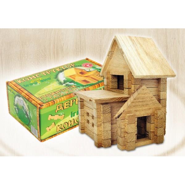 деревянный конструктор Домик с гаражом на 75 деталей от Игротеко