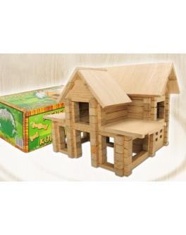 Деревянный конструктор Игротеко - Домик с мансардой на 126 деталей - mlt s mansardoy