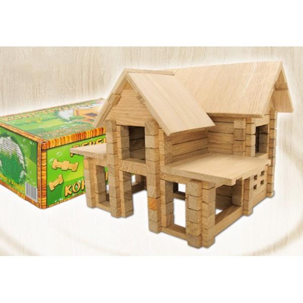 деревянный конструктор Домик с мансардой на 126 деталей от Игротеко