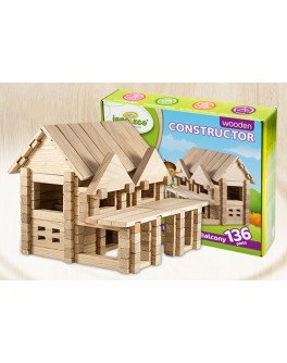 Деревянный конструктор Игротеко - Домик с балконом на 132 детали - mlt s balkonom