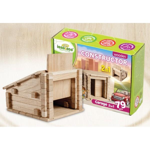 деревянный конструктор Гараж на 79 деталей от Игротеко
