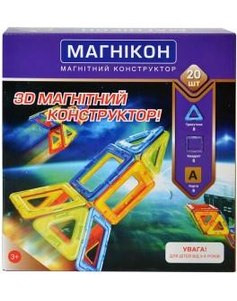 3D Магнитный конструктор  Магникон на 20 деталей