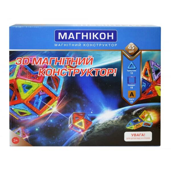 конструктор магнитный магникон на 45 магнитов