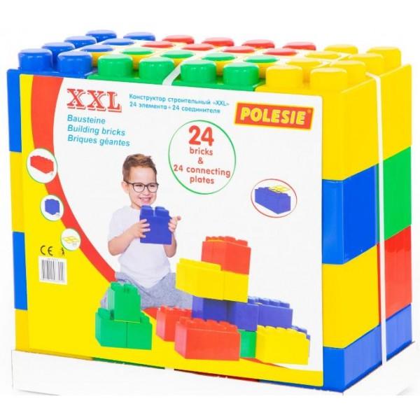 Конструктор будівельний XXL, 24 елемента, 24 з'єднувача, 45х23х42 см ТМ Полесье (68019)