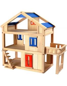 Деревянный кукольный домик с террасой Plan Toys (7150)