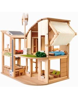 Деревянный зелёный кукольный домик с мебелью Plan Toys (7156)