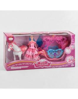 Ігровий набір Карета з лялькою, кінь ходить, видає реалістичні звуки, музика, карета з підсвічуванням (910 A)