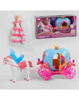 Ігровий набір Карета з лялькою, кінь ходить, видає реалістичні звуки, відтворює пісеньку, карета з підсвічуванням (911 A)