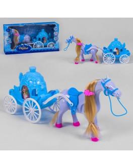 Ігровий набір Карета з лялечкою, світло, музика, конячка ходить (686-798)