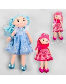 Лялька м'яконабивна в платті прикрашеному ажурним мереживом, зріст 33 см (А- 25006)