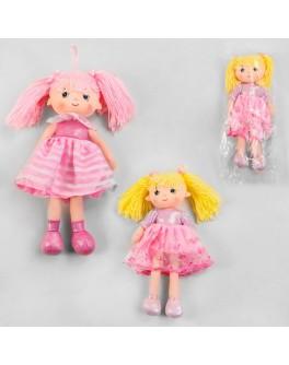 Лялька м'яконабивна в рожевій сукні з коміром і подвійною спідницею, зріст 33 см (А-58236)