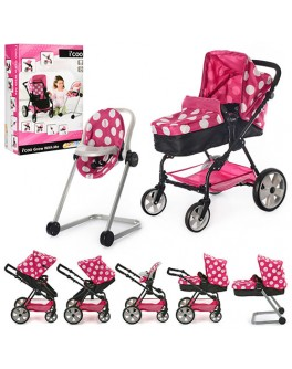 Коляска для куклы  I'coo Grow With Me (6 в 1), коляска с автокреслом, стульчиком для кормления и люлькой.