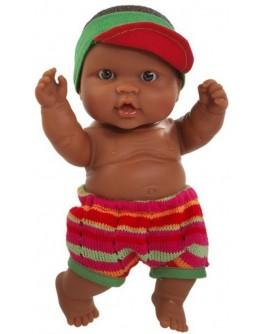 Кукла-пупс Младенец мальчик мулат в кепке и шортах Paola Reina (21101) 22 см - kklab 21101