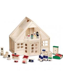 Деревянный домик с куклами и мебелью Mellissa & Doug - MD 795
