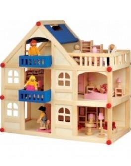 Домик для кукол на 3 этажа с террасой - Der 250