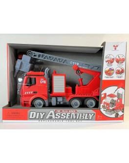 Машинка-конструктор Пожежна машина звук, інерція, бризкає водою (YW 9080 B)