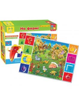 Игра пазлы На ферме Познаём мир Vladi Toys VT1603-01