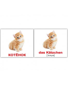 Карточки Домана мини Домашние животные немецко-русские Вундеркинд с пеленок