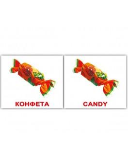 Карточки Домана мини Еда англо-русские Вундеркинд с пеленок