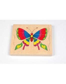 Деревянная игрушка Пазл Бабочка 4 слоя, Мди - Der p80