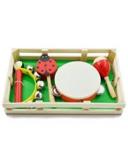 Набір дитячих музичних інструментів: бубен, дамару, маракас і дзвіночки на ручці (MD 2353)