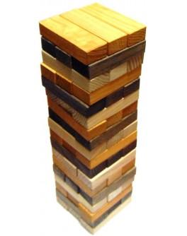 Настольная игра Дженга трехцветная (54 бруска)