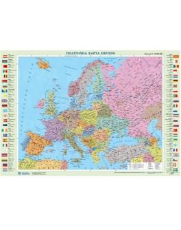 Карта Європи політична М1:10 000 000, А2 65х45 см (картон) укр