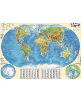 Карта світу фізична М1: 32 000 000, А0 110х77 см (картон) укр