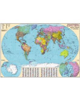 Карта світу політична М1:22 000 000, 110х160 см (картон)