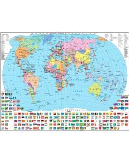 Карта світу політична М1:54 000 000, А2 65х45 см (картон) укр