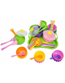 Набор игрушечной посуды столовый Ромашка 43 элемента - mlt 39149