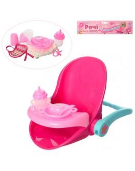 Игрушечный стульчик для кормления куклы 40 см с аксессуарами M 3836-14 - mpl M 3836-14