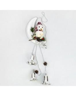 Декоративная новогодняя композиция Снеговик на луне