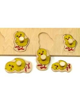 Деревянная игра Досточка Больше Меньше Цыплята Розумний Лис - roz 90038