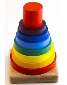 Деревянная пирамидка Радуга - 7 цветов Розумний Лис - roz 90053