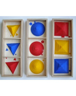 Круги, квадраты, треугольники (накладные фигуры). Методика Монтессори - SV накладные фигуры