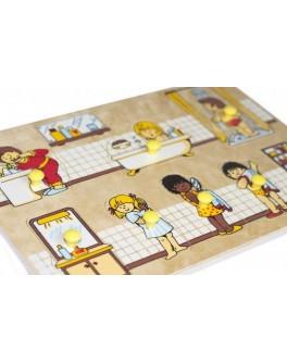 Рамка-вкладыш Монтессори из дерева Ванная комната Lam Toys - lam 1401