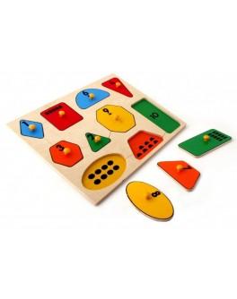 Рамка-вкладыш Монтессори из дерева Геометрические фигуры Lam Toys