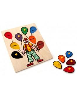 Рамка-вкладыш Монтессори из дерева Клоун Lam Toys