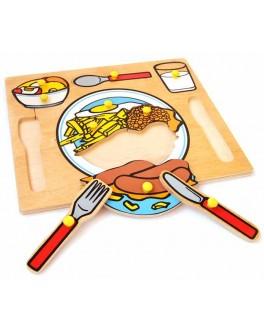 Рамка-вкладыш Монтессори из дерева Сервировка стола Lam Toys