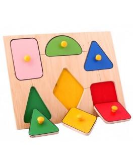 Рамка-вкладыш Монтессори из дерева Геометрические фигуры (мал.) Lam Toys