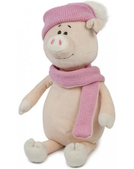 Мягкая игрушка Свинка Аша с шарфом и шапкой, 28 см