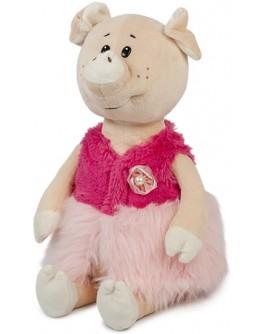 Мягкая игрушка Свинка Буба в меховой жилетке, 21 см